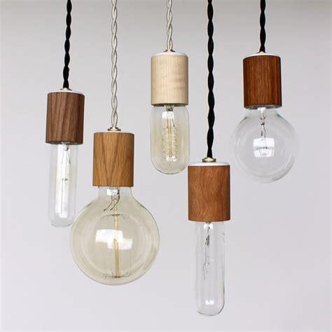Veneer Pendant Light Wood Veneered Pendant Light With Bulb By Onefortythree On Etsy 45 00 Modern Lighting