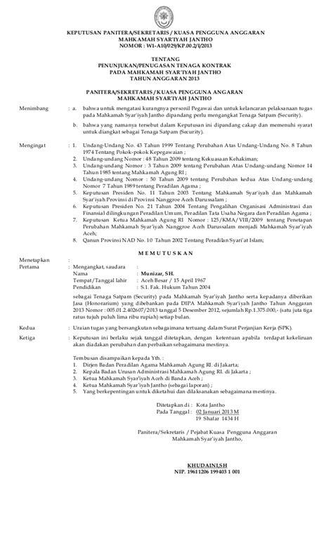 sk tenaga honor dan kontrak ms jantho 2013