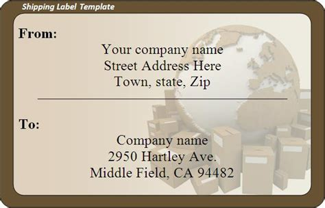 shipping label template free package shipping label template images
