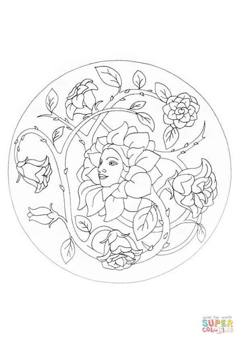 mandala coloring pages roses mandala with flowers coloring page free printable
