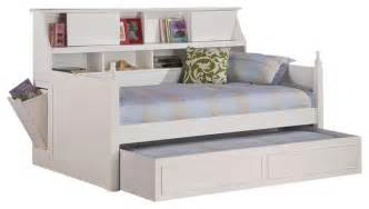 Coaster daisy bookcase wood daybed with under bed trundle in white