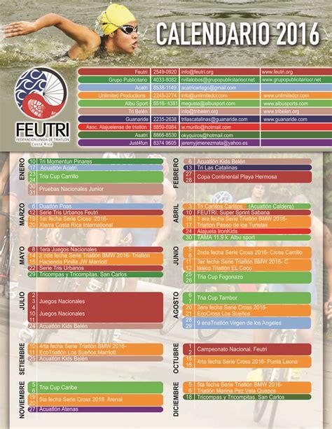 Calendario 2016 Costa Rica Calendario 2016 Federaci 243 N Unida De Triatl 243 N Triatlon