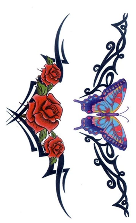removable tattoo maker of temporary tattoos tribal butterfly rose armband free