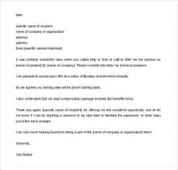 Letter Of Acceptance Template by 12 Acceptance Letter Templates Free Sle Exle