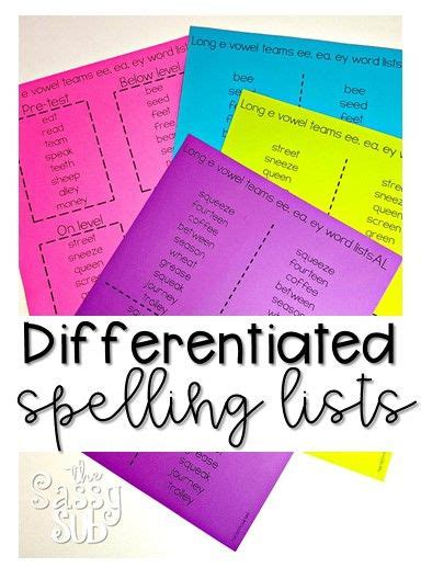 spelling pattern year 2 2nd grade spelling differentiated lists for the entire