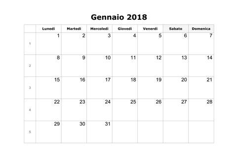 calendario gennaio 2018