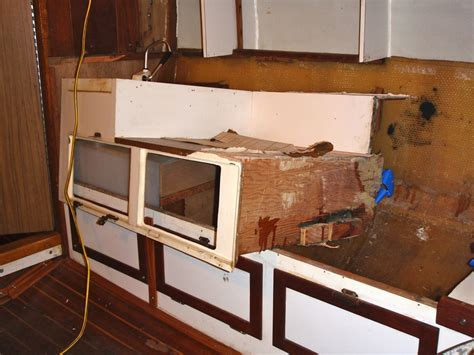 chunks sink and water on top is removed rebuilding the galley cruising sail com