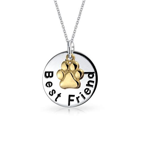 silver best friend message paw charm circle pendant