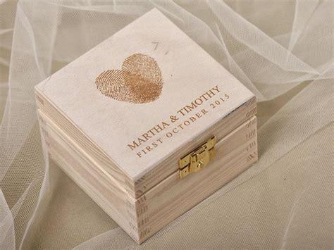 fingerprint wood wedding ring bearer box rustic wooden