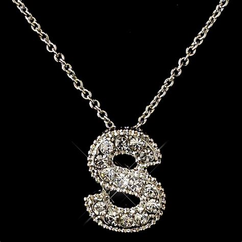 Rhinestone Pendent Necklace quot s quot clear rhinestone letter initial pendant necklace 1