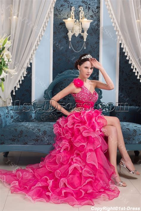 High low Hot Pink Colorful Quinceanera Dress :1st dress.com