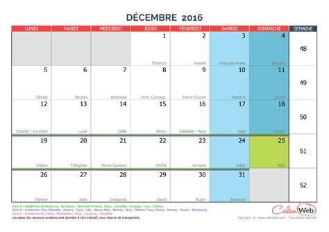 Calendrier Mois Calendrier Mensuel Mois De D 233 Cembre 2016 Avec F 234 Tes