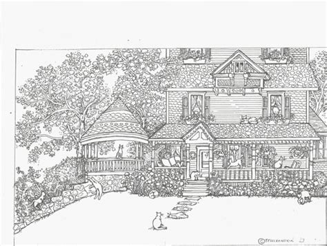 printable coloring pages for adults houses cat coloring pages for adults bestofcoloring com