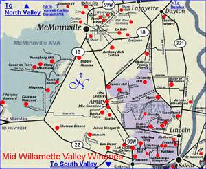 map to the wineries of oregon s mid willamette valley