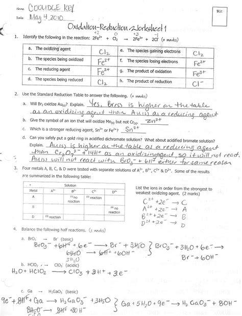 Redox Reactions Worksheet by Redox Reactions Worksheet Worksheets