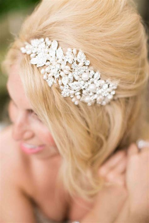 Wedding Hair With Bling by A Chic And Wedding With Pink Ivory And Gold
