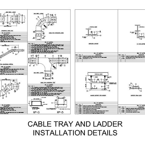 cable tray section detail cable tray and ladder installation details cad files