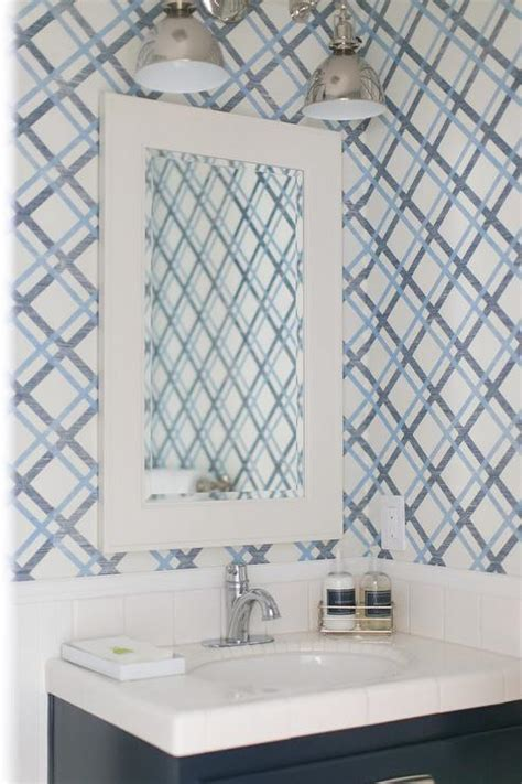 lattice wallpaper contemporary bathroom