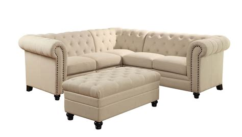 3 piece fabric sofa 3 piece coaster roy button tufted sectional set