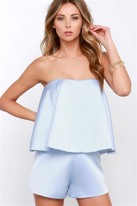 light blue strapless top keepsake night after night romper light blue romper