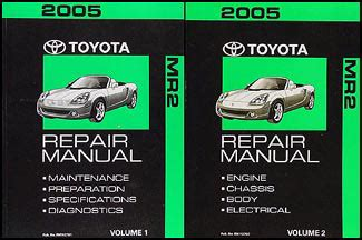car repair manuals online pdf 2005 toyota mr2 interior lighting 2005 toyota mr2 spyder repair shop manual set original