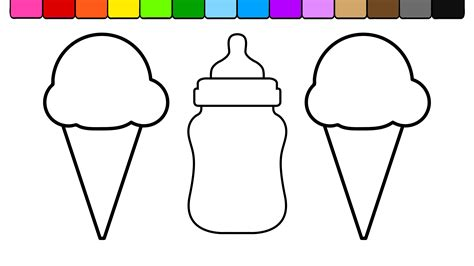 coloring page baby bottle learn colors for kids and color ice cream baby bottle