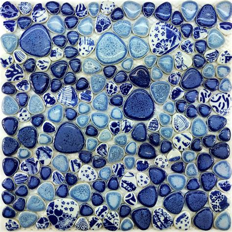 glazed porcelain tile glass pebble mosaic ppmt043 pebble