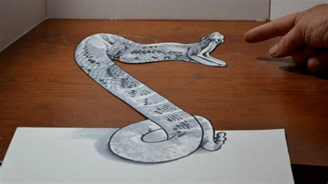 How To Make A 3d Snake Out Of Paper - drawing a 3d rattlesnake cool anamorphic trick