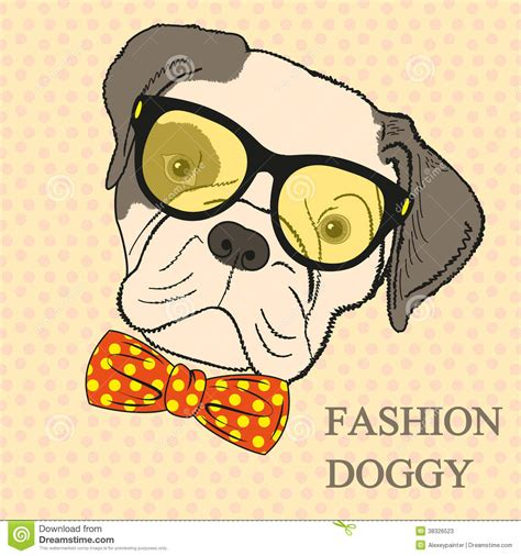 retro drawing fashion hand drawing illustration of dog in glasses and