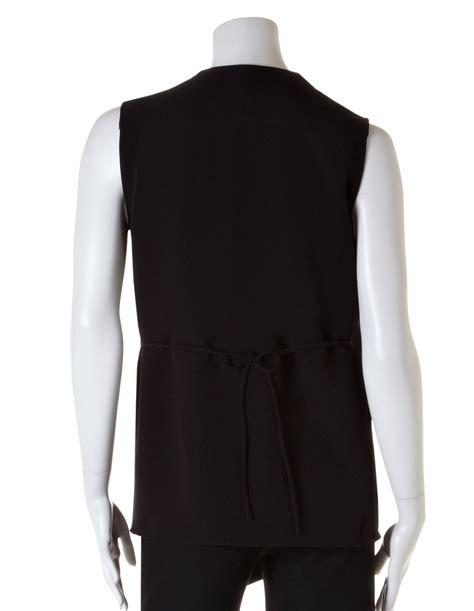 Black Drape Vest Blouse Cleo