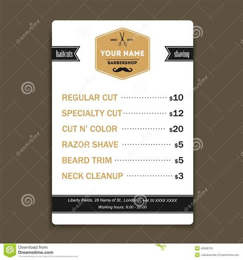 Hair Salon Barber Shop Services List Design Template Stock Vector Image 43099735 Free Barber Business Card Template