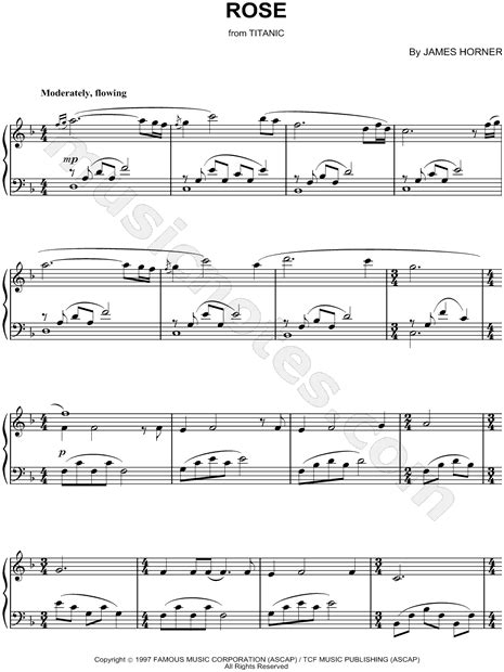 rose theme piano chords quot rose quot from titanic sheet music piano solo in f major