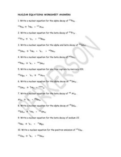 Nuclear Equations Worksheet Answers by Balancing Nuclear Equations Worksheet Photos Getadating