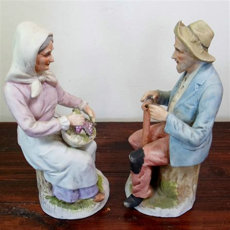home interior figurines vtg home interiors homco 1433 old man woman couple the