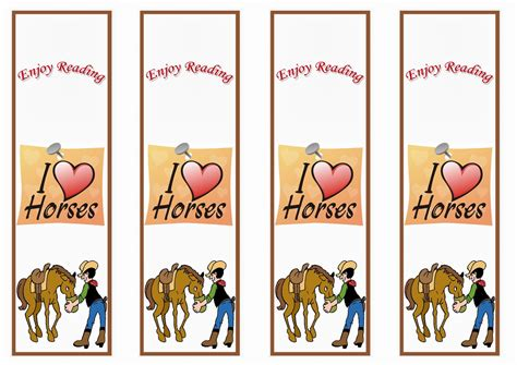 free printable horse bookmarks horse bookmarks birthday printable