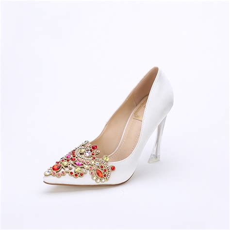 white satin high heels high quality satin pumps pointed toe high heels