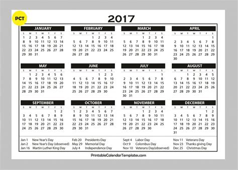 free printable 2017 calendar on one page free printable calendar 2017 printable calendar templates