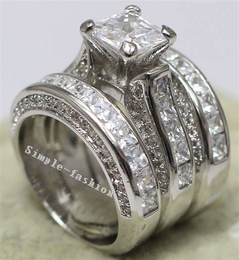 get cheap white gold engagement ring princess cut
