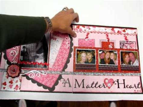 valentines day scrapbooking 12x24 layout two pages