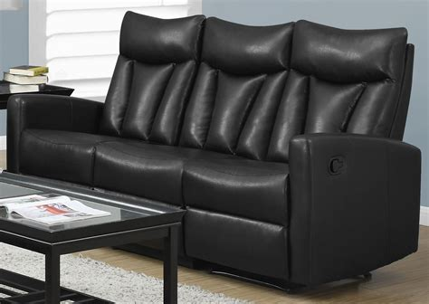 Bonded Leather Recliner Sofa 87bk 3 Black Bonded Leather Reclining Sofa From Monarch Coleman Furniture