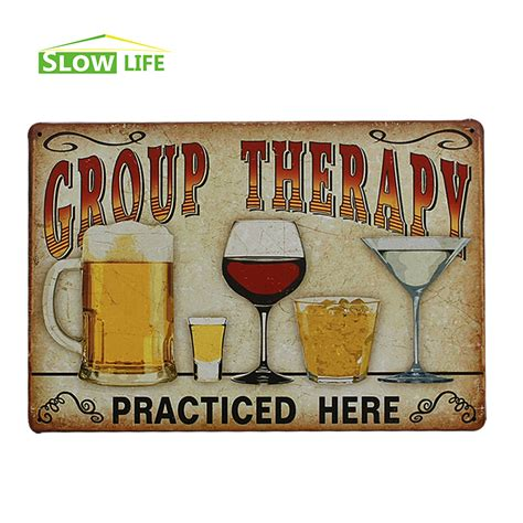 wine beer vintage home decor tin sign 8 quot x12 quot metal signs beer wine whisky cocktail group therapy vintage home decor