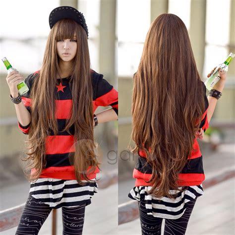 anime hairstyles cosplay 80cm new light brown wig harajuku long curly wig hair