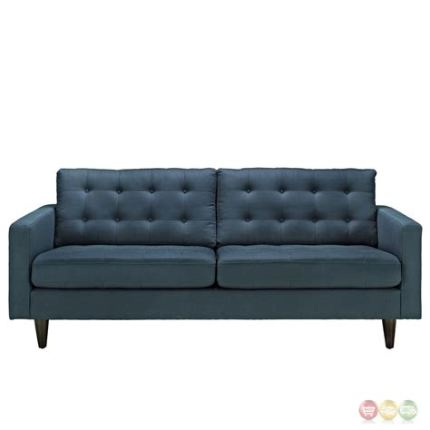 empress contemporary button tufted upholstered sofa azure