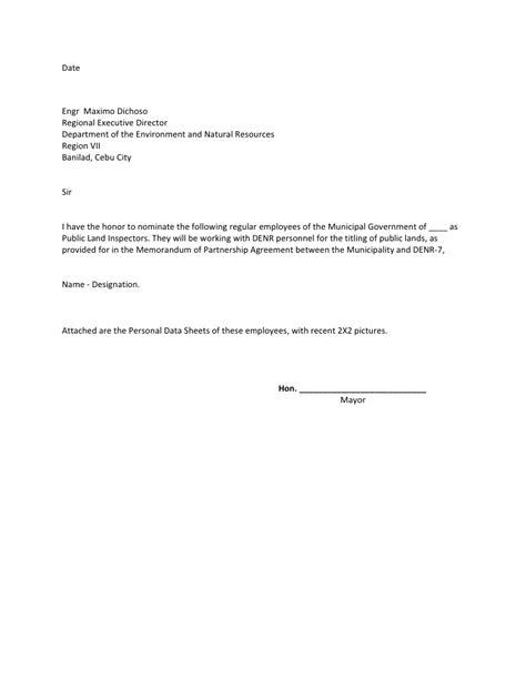 nomination letter format nomination letter sle best letter sle
