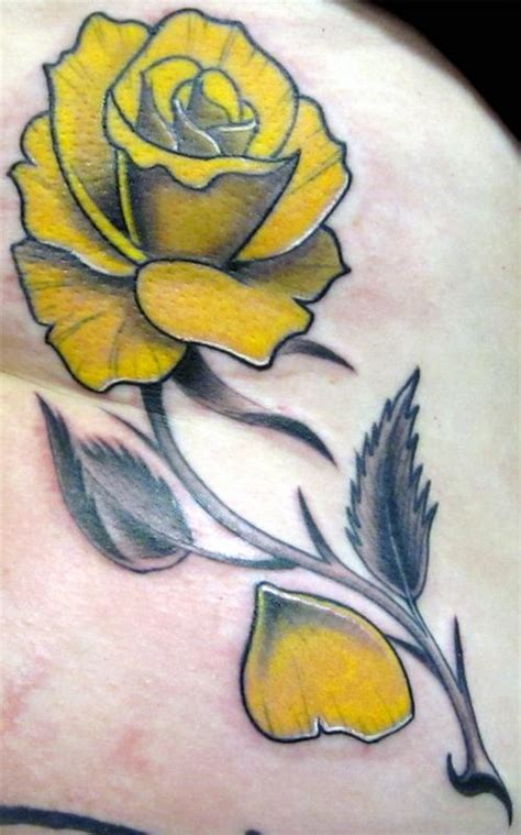 texas rose tattoo yellow by trent edwards tattoonow