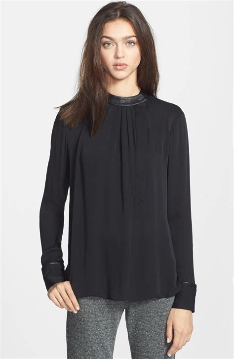 theory blouse theory kyna silk blouse in black lyst