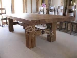 Oak Dining Tables Uk Oak Beam H Base Dining Table Rustic Oak Furniture