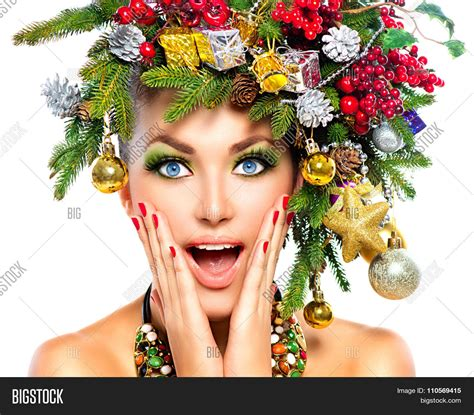latest holiday wood hairstyles surprised christmas woman image photo bigstock