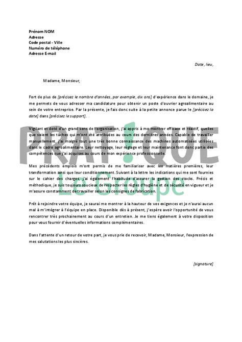 Exemple De Lettre Nouvelle ã E Lettre De Motivation Pour Un Emploi D Ouvrier Agroalimentaire Confirm 233 Pratique Fr