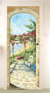 poster trompe l oeil porte pin sticker bambou on